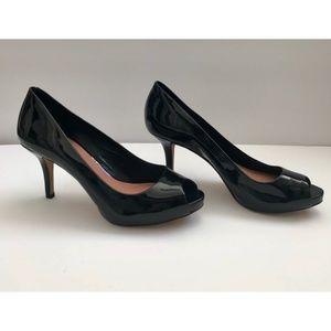 Vince Camuto Open Toe Black Patent Heel Size 6